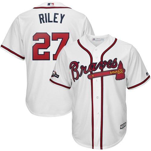 Atlanta Braves #27 Austin Riley Majestic 2019 Postseason Official Cool Base Player White Jersey