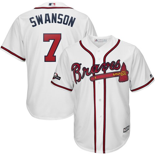 Atlanta Braves #7 Dansby Swanson Majestic 2019 Postseason Official Cool Base Player White Jersey