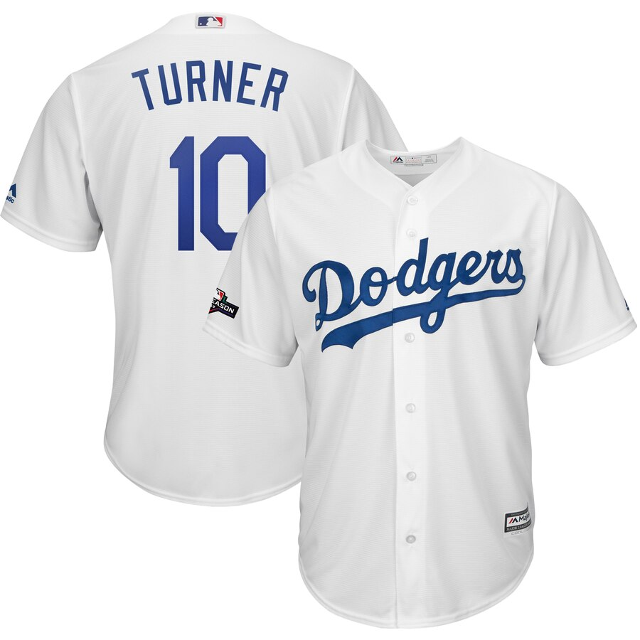 Los Angeles Dodgers #10 Justin Turner Majestic 2019 Postseason Home Official Cool Base Player White Jersey