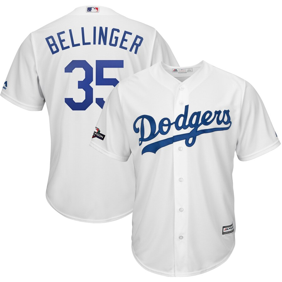 Los Angeles Dodgers #35 Cody Bellinger Majestic 2019 Postseason Home Official Cool Base Player White Jersey
