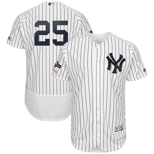 New York Yankees #25 Gleyber Torres Majestic 2019 Postseason Authentic Flex Base Player White Navy Jersey