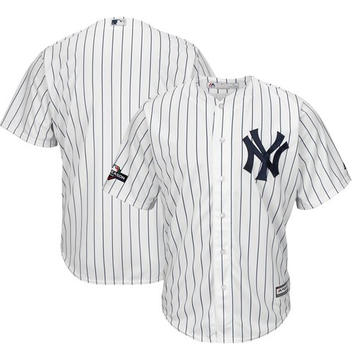 New York Yankees Majestic 2019 Postseason Official Cool Base Player White Navy Jersey