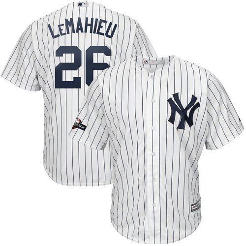 New York Yankees #26 DJ LeMahieu Majestic 2019 Postseason Official Cool Base Player White Navy Jersey