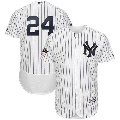New York Yankees #24 Gary Sanchez Majestic 2019 Postseason Authentic Flex Base Player White Navy Jersey