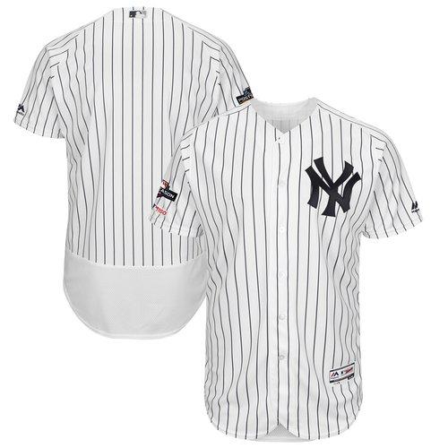 New York Yankees Majestic 2019 Postseason Authentic Flex Base Player White Navy Jersey