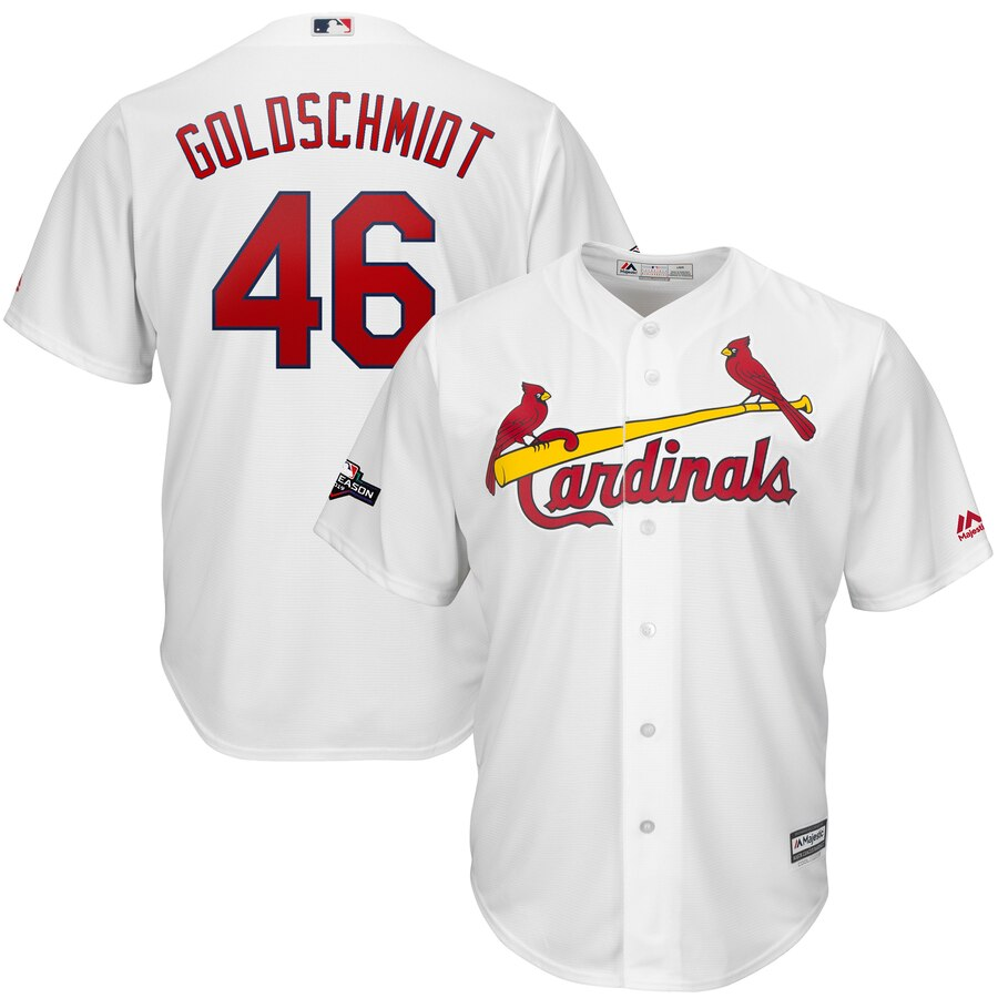 St. Louis Cardinals #46 Paul Goldschmidt Majestic 2019 Postseason Official Cool Base Player White Jersey