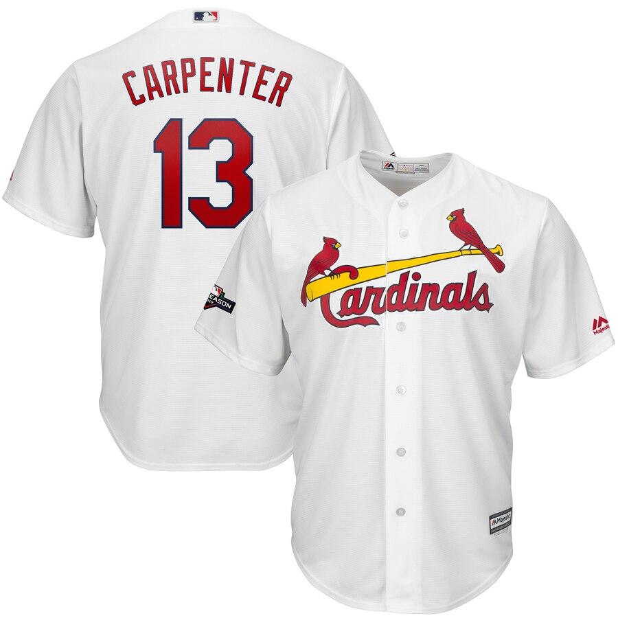 St. Louis Cardinals #13 Matt Carpenter Majestic 2019 Postseason Official Cool Base Player White Jersey