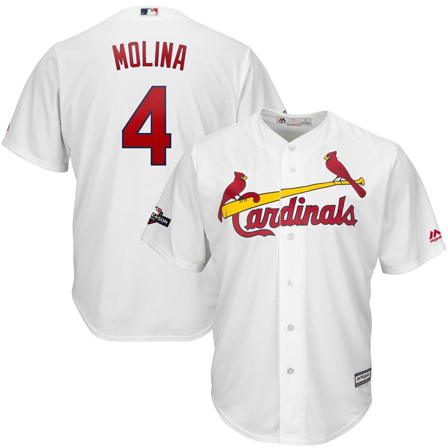 St. Louis Cardinals #4 Yadier Molina Majestic 2019 Postseason Official Cool Base Player White Jersey
