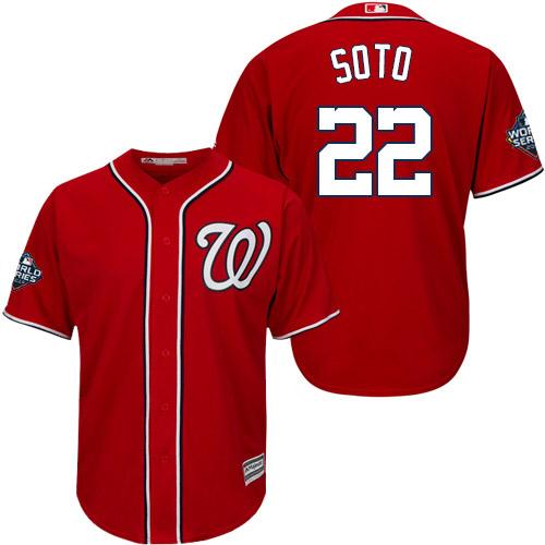 Men's Washington Nationals #22 Juan Soto Red 2019 World Series Bound Cool Base Stitched MLB Jersey