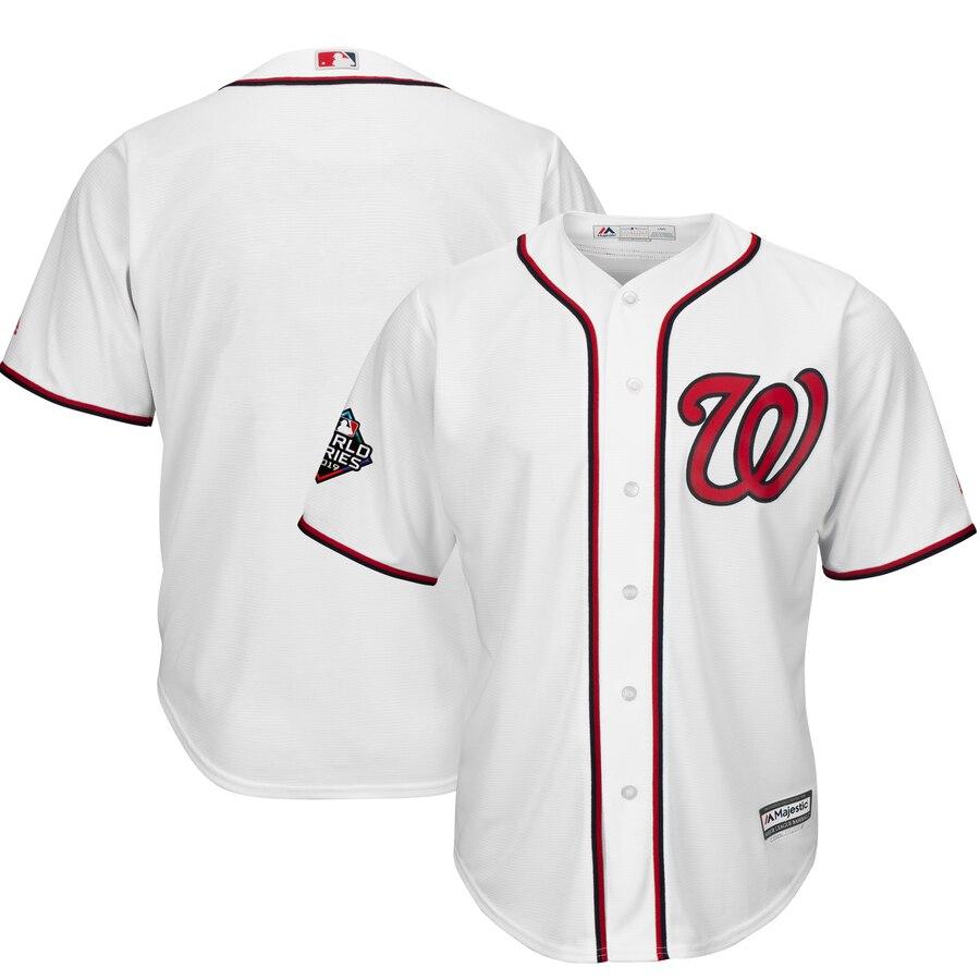 Men's Washington Nationals Blank White 2019 World Series Bound Cool Base Stitched MLB Jersey