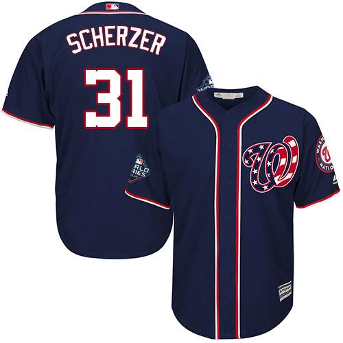 Men's Washington Nationals #31 Max Scherzer Navy 2019 World Series Bound Cool Base Stitched MLB Jersey
