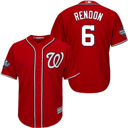 Men's Washington Nationals #6 Anthony Rendon Red 2019 World Series Bound Cool Base Stitched MLB Jersey