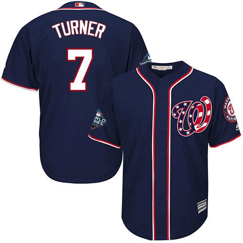 Men's Washington Nationals #7 Trea Turner Navy 2019 World Series Bound Cool Base Stitched MLB Jersey