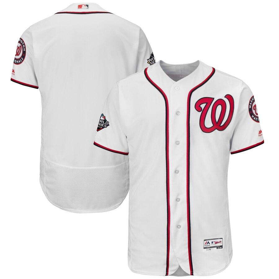 Men's Washington Nationals Blank White 2019 World Series Bound Flexbase Authentic Collection Stitched MLB Jersey