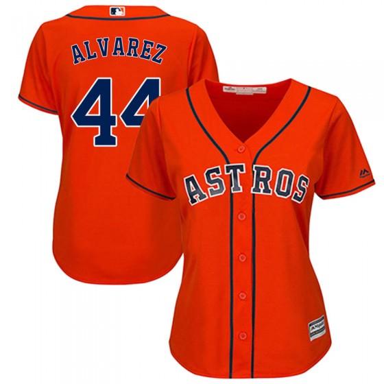 Women's Authentic Houston Astros #44 Yordan Alvarez Majestic Cool Base Alternate OrangeJersey