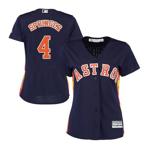 Women's Authentic Houston Astros #4 George Springer Majestic Alternate Cool Base Navy Blue Jersey