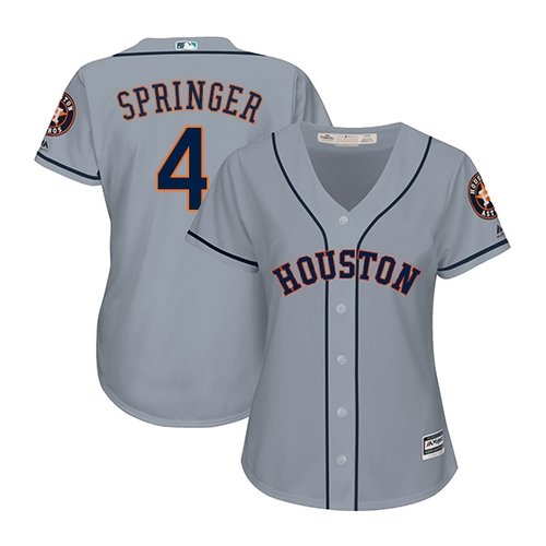 Women's Authentic Houston Astros #4 George Springer Majestic Road Cool Base Grey Jersey