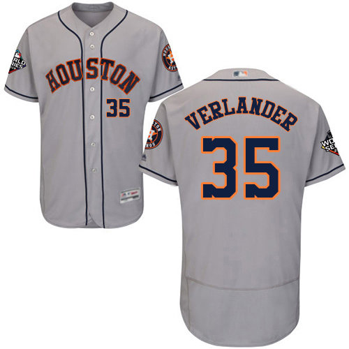 Astros #35 Justin Verlander Grey Flexbase Authentic Collection 2019 World Series Bound Stitched Baseball Jersey