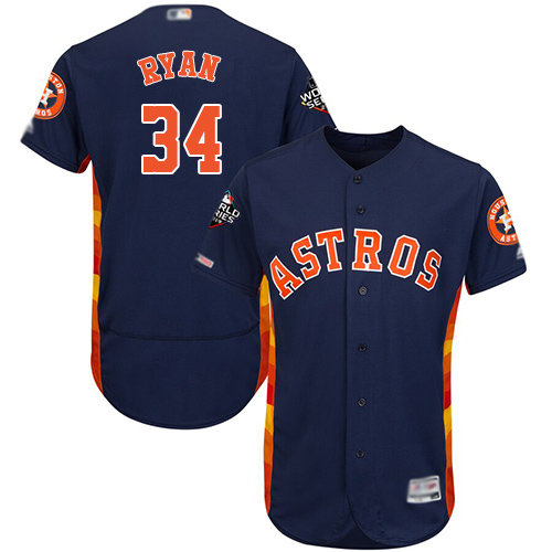 Astros #34 Nolan Ryan Navy Blue Flexbase Authentic Collection 2019 World Series Bound Stitched Baseball Jersey