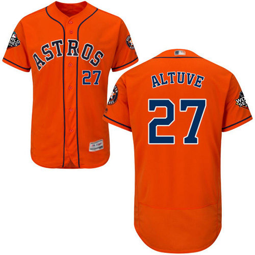 Astros #27 Jose Altuve Orange Flexbase Authentic Collection 2019 World Series Bound Stitched Baseball Jersey