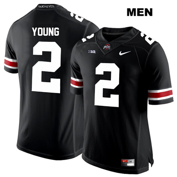 Mens Ohio State Buckeyes Authentic Nike White Font #2 Chase Young Stitched Black College Football Jersey