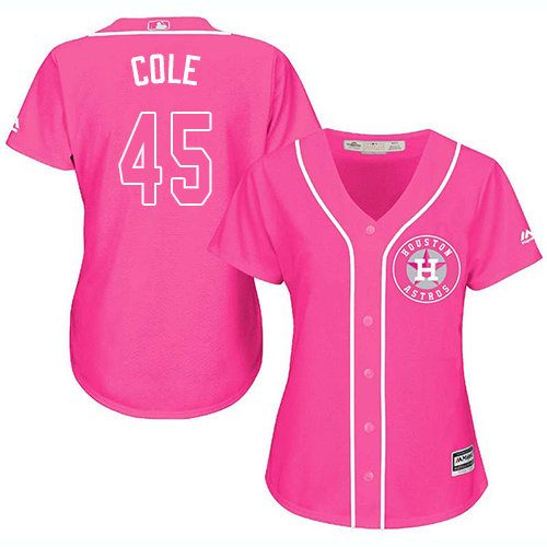 Women's Majestic Houston Astros #45 Gerrit Cole Authentic Pink Fashion Cool Base MLB Jersey