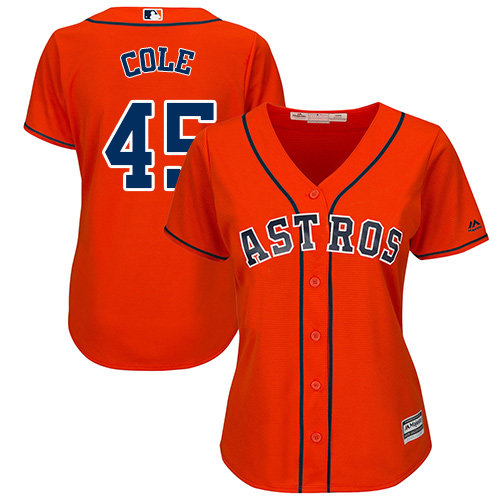 Women's Majestic Houston Astros #45 Gerrit Cole Authentic Orange Alternate Cool Base MLB Jersey