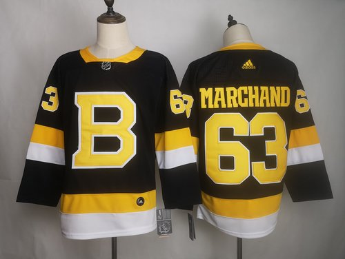 Men's Boston Bruins 63 Brad Marchand Black Adidas Jersey
