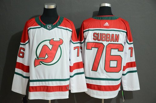 Men's New Jersey Devils 76 P.K. Subban White Adidas Jersey