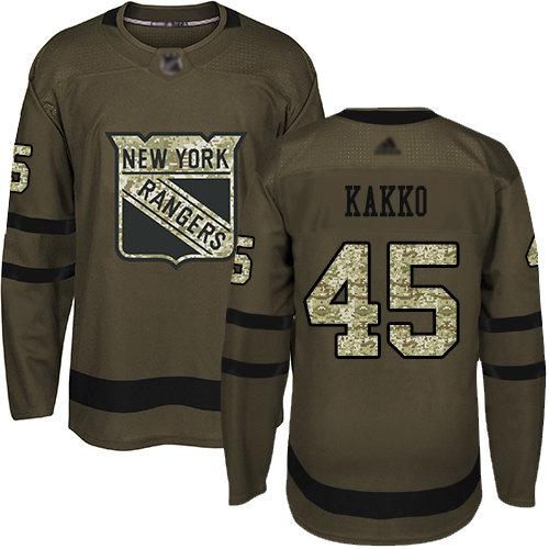 Men's New York Rangers #45 Kaapo Kakko Green Salute to Service Stitched Hockey Jersey