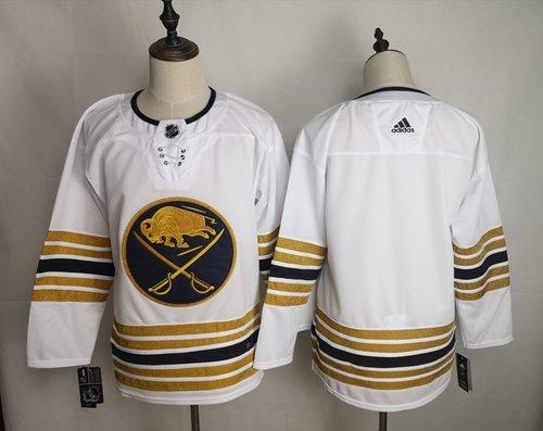 Men's Buffalo Sabres Blank White 50th anniversary Adidas Jersey