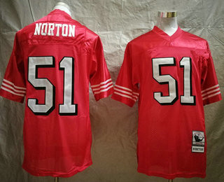 Men's San Francisco 49ers #51 Ken Norton Jr. Red Throwback Mitchell & Ness Jersey