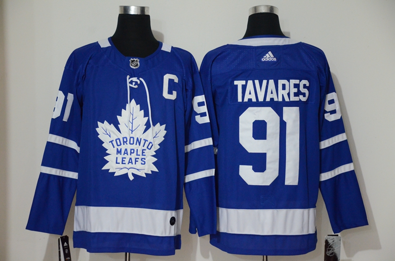 Men's Toronto Maple Leafs #91 John Tavares with C Patch Royal Blue Home Stitched Adidas NHL Jersey