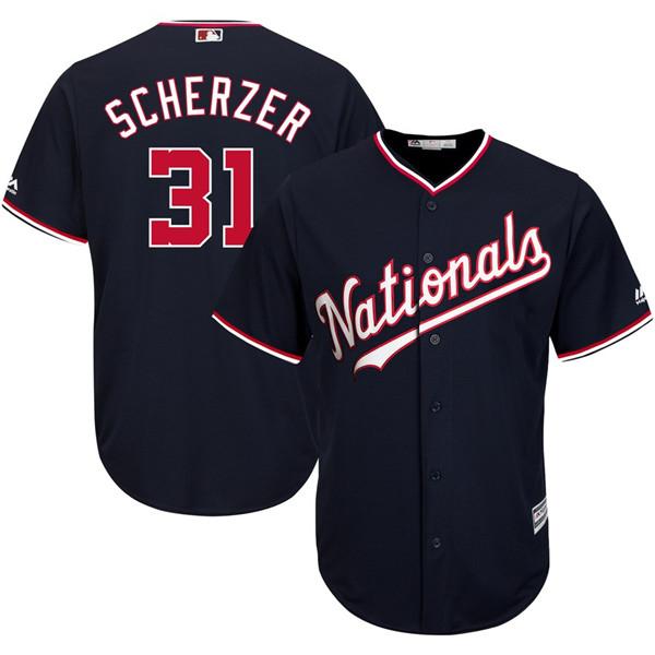 Men's Washington Nationals #31 Max Scherzer Navy Cool Base Jersey