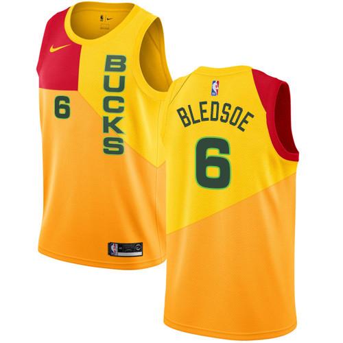 Nike Bucks #6 Eric Bledsoe Yellow NBA Swingman City Edition Jersey