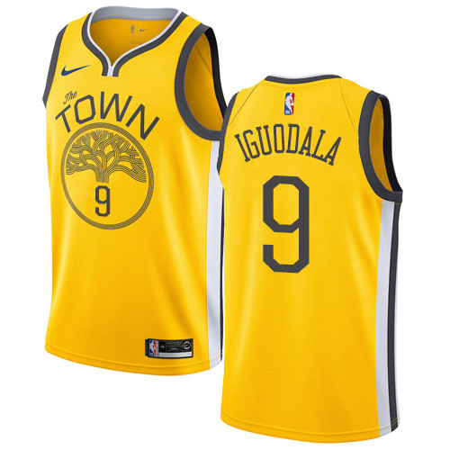 Nike Warriors #9 Andre Iguodala Gold NBA Swingman Earned Edition Jersey
