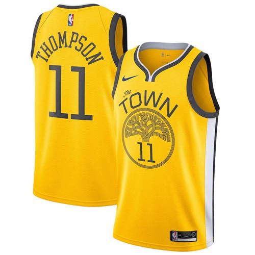 Nike Warriors #11 Klay Thompson Gold NBA Swingman Earned Edition Jersey