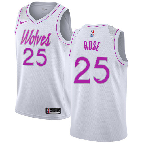 Nike Timberwolves #25 Derrick Rose White NBA Swingman Earned Edition Jersey