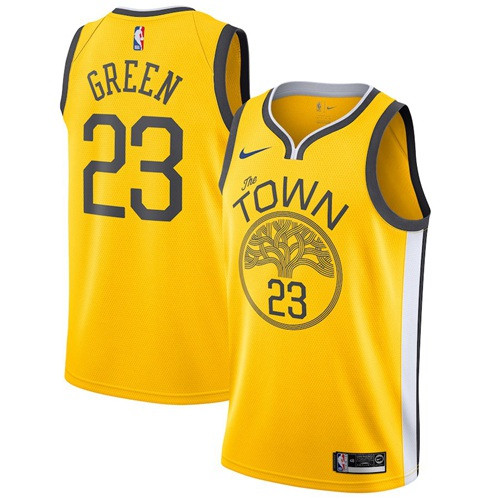 Nike Warriors #23 Draymond Green Gold NBA Swingman Earned Edition Jersey