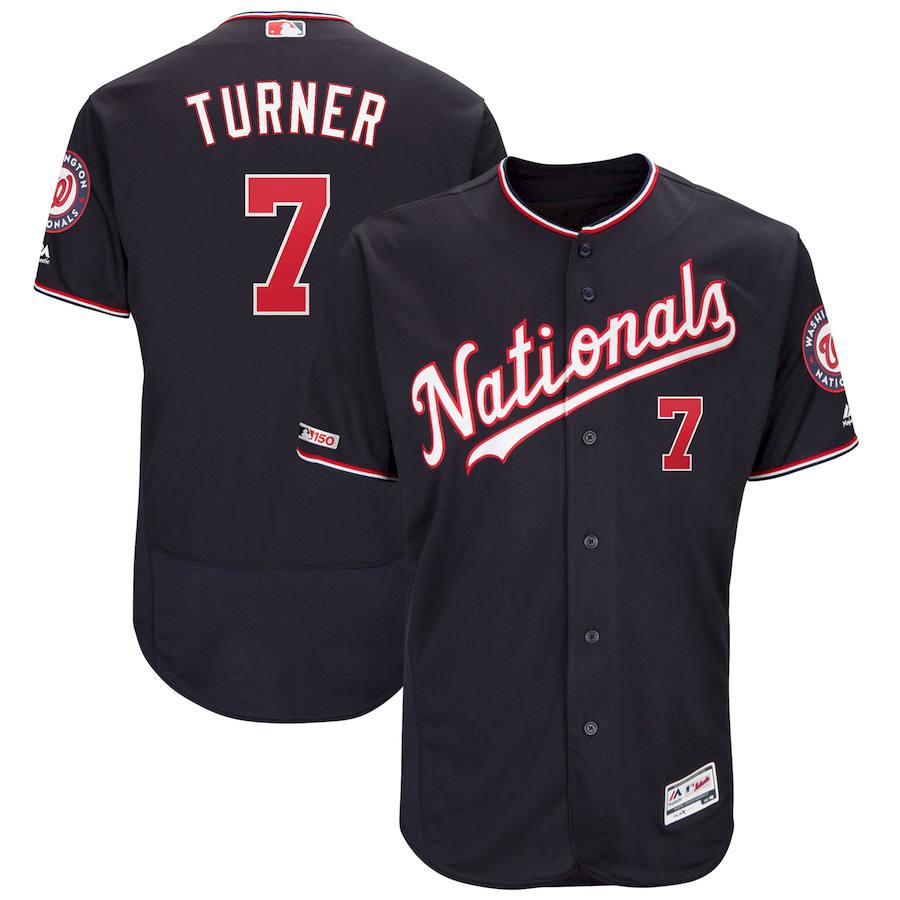 Washington Nationals #7 Trea Turner Majestic Alternate Authentic Collection Flex Base Player Navy Jersey