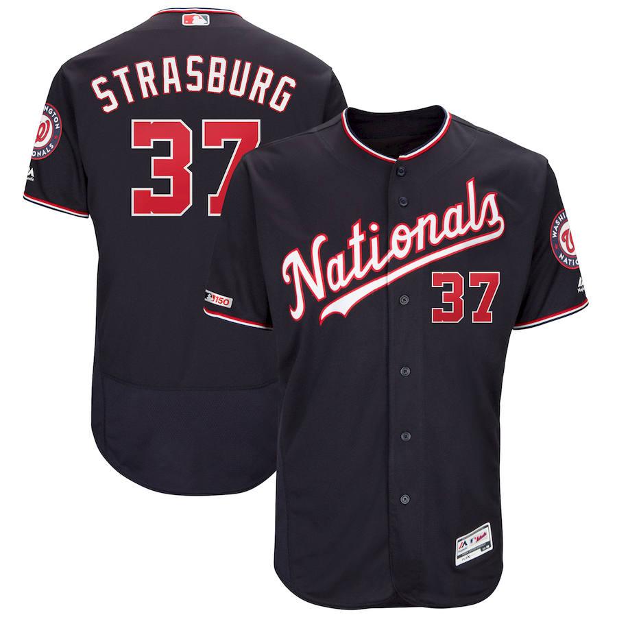 Washington Nationals #37 Stephen Strasburg Majestic Alternate Authentic Collection Flex Base Player Navy Jersey