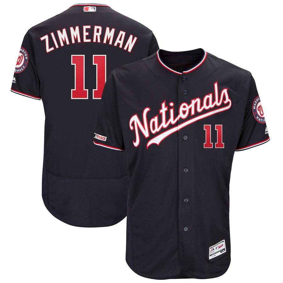 Washington Nationals #11 Ryan Zimmerman Majestic Alternate Authentic Collection Flex Base Player Navy Jersey