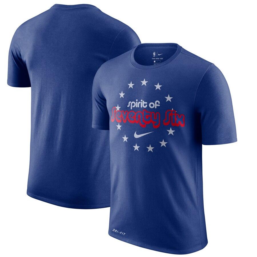 Philadelphia 76ers Nike Hardwood Classics Hometown Vintage T-Shirt Royal