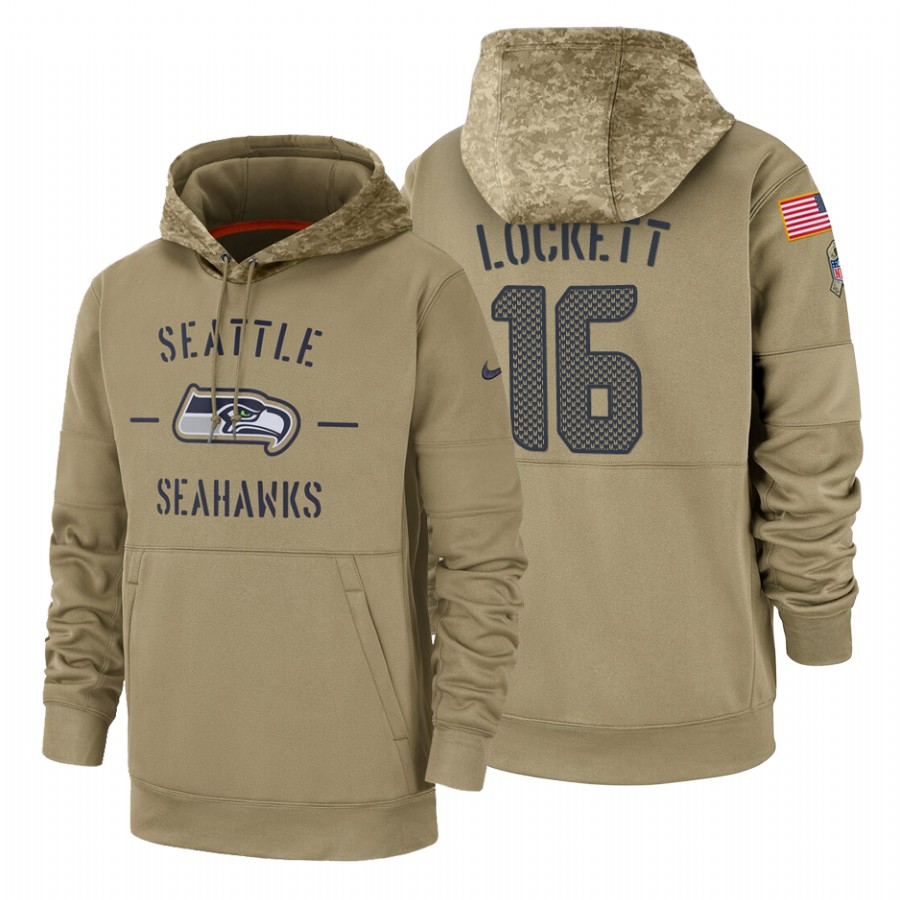 Seattle Seahawks #16 Tyler Lockett Nike Tan 2019 Salute To Service Name & Number Sideline Therma Pullover Hoodie
