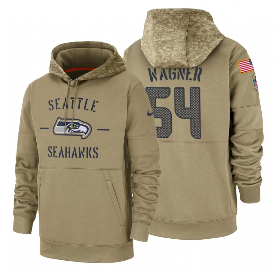 Seattle Seahawks #54 Bobby Wagner Nike Tan 2019 Salute To Service Name & Number Sideline Therma Pullover Hoodie