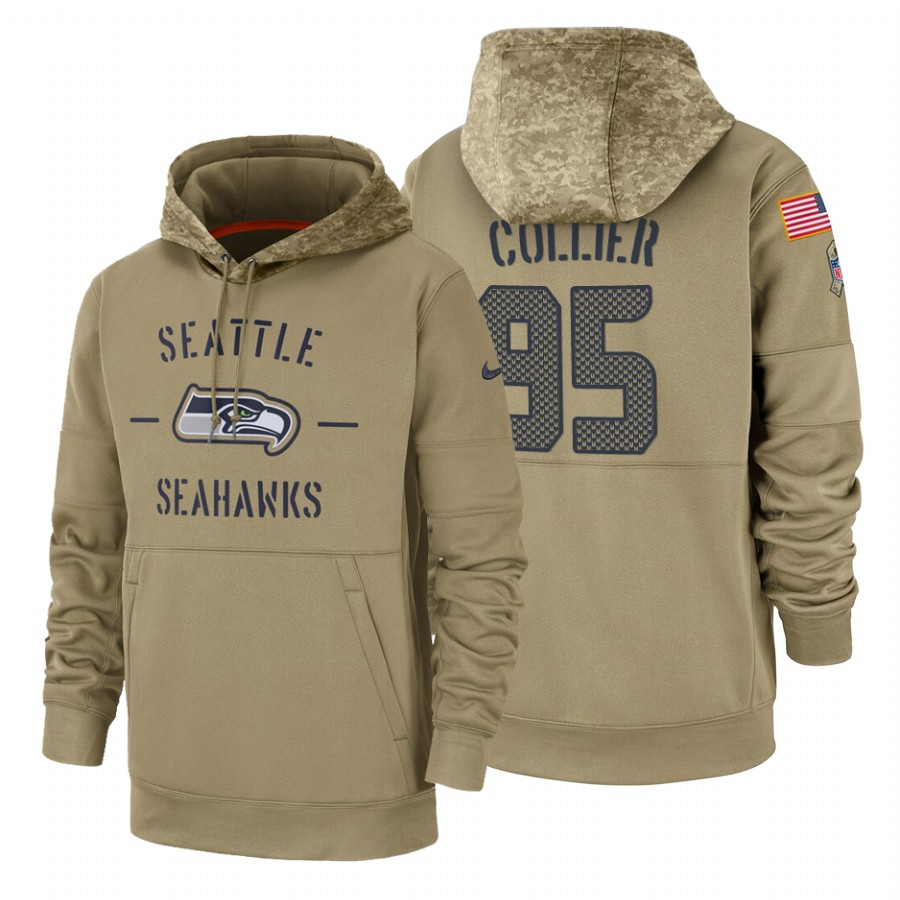 Seattle Seahawks #95 L.J. Collier Nike Tan 2019 Salute To Service Name & Number Sideline Therma Pullover Hoodie