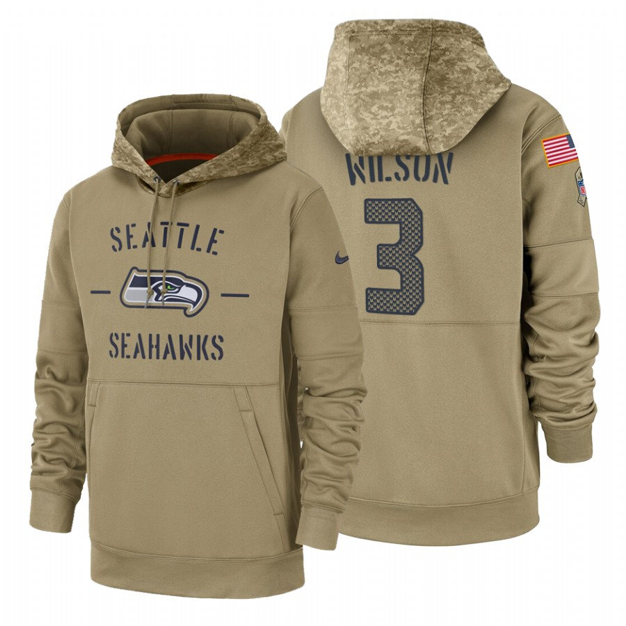 Seattle Seahawks #3 Russell Wilson Nike Tan 2019 Salute To Service Name & Number Sideline Therma Pullover Hoodie