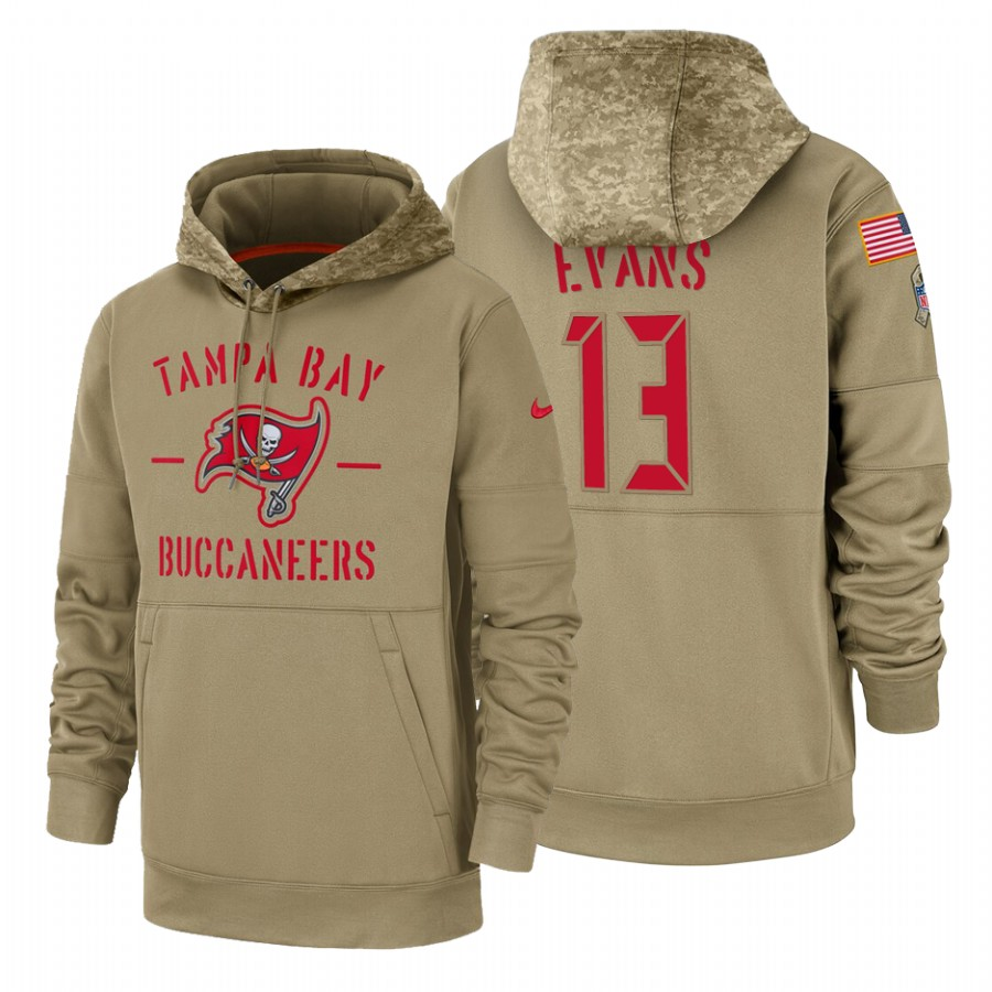 Tampa Bay Buccaneers #13 Mike Evans Nike Tan 2019 Salute To Service Name & Number Sideline Therma Pullover Hoodie