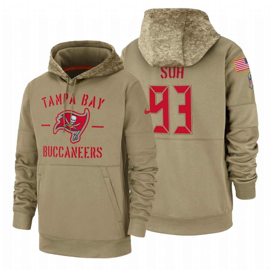 Tampa Bay Buccaneers #93 Ndamukong Suh Nike Tan 2019 Salute To Service Name & Number Sideline Therma Pullover Hoodie
