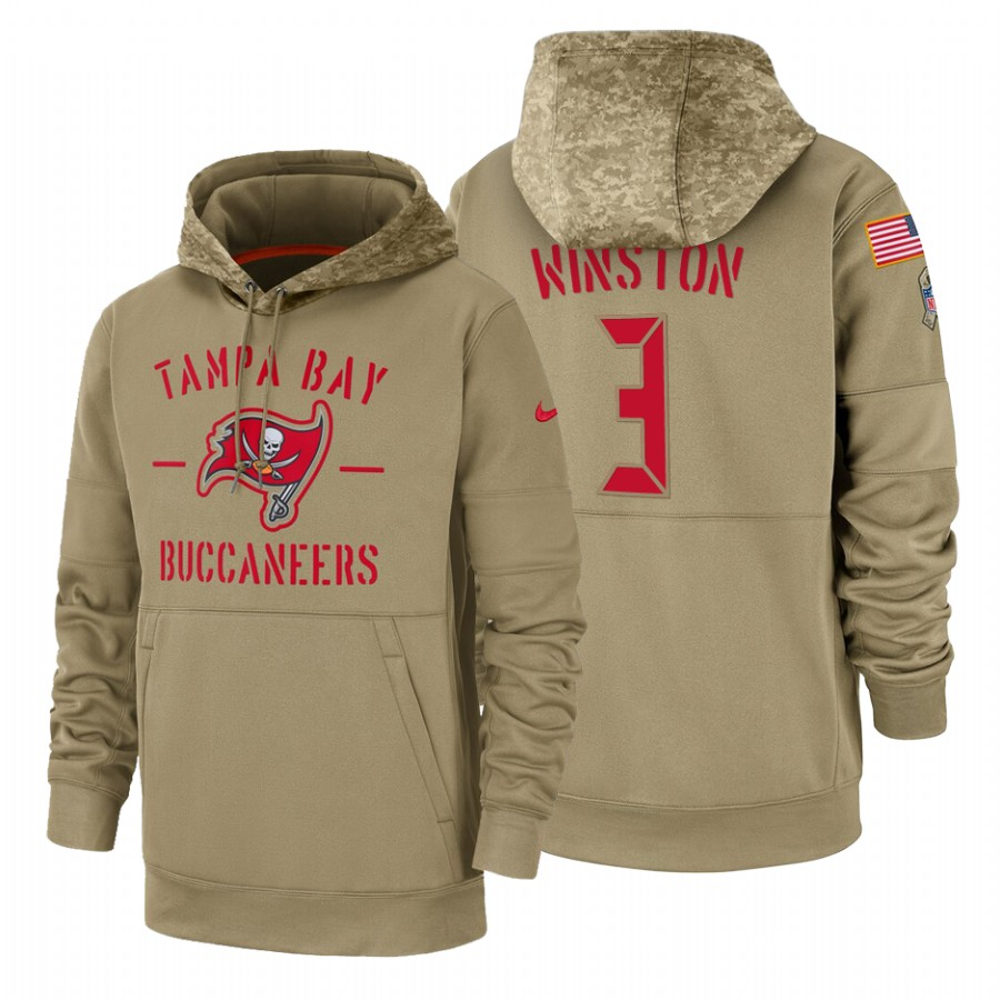 Tampa Bay Buccaneers #3 Jameis Winston Nike Tan 2019 Salute To Service Name & Number Sideline Therma Pullover Hoodie